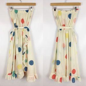 Vintage   rainbow polka dot strapless dress 0773